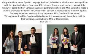 MFL Award - May 2015